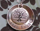 Tree Hugger sterling silver hand stamped necklace