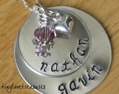 Sterling silver Double-Double, hand stamped necklace