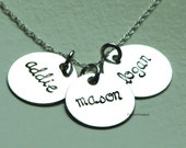 Hand Stamped Mommy Necklace - Trio of Sterling Silver charms on a sterling silver necklace