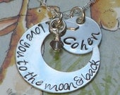 I love you to the moon and back necklace with one name charm - sterling silver hand stamped with new font