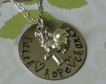 Faith Hope Charity, sterling silver necklace