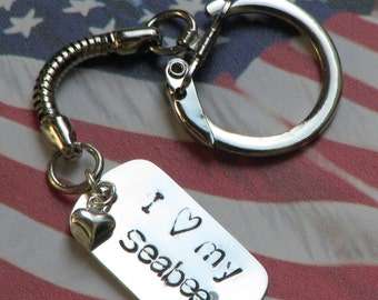 I heart my Seabee/Soldier/Air Man/Sailor/Marine keychain