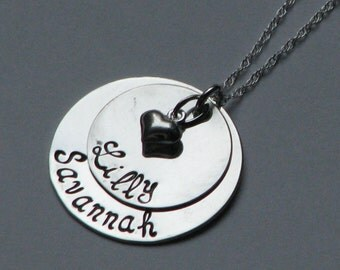 Double Stack sterling silver hand stamped necklace