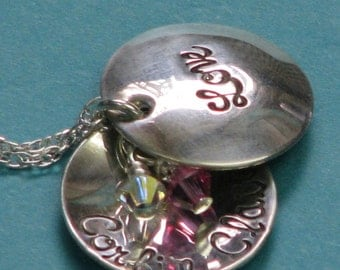 Locket Treasure - Hand stamped Sterling Silver necklace