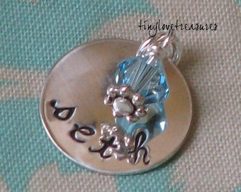 Sterling silver pendant with Swarovski birthstone bead