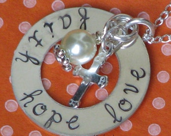 FAITH HOPE LOVE Sterling Silver necklace