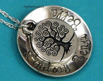 Family Tree sterling silver hand stamped pendant and necklace, cupped