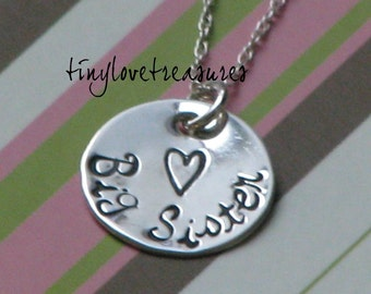 Big Sister Sterling Silver Hand Stamped necklace