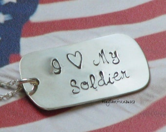 Sterling silver I heart My Soldier/Sailor/Marine/Airman hand stamped necklace