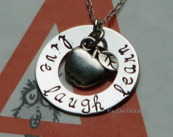 Live Laugh Learn sterling silver hand stamped necklace with apple charm for the perfect teacher