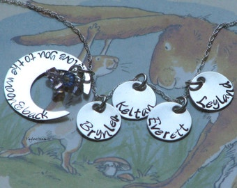 I love you to the moon and back necklace with FOUR name charms and birth stones - sterling silver hand stamped