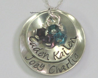 Cups of Love, Cupped Sterling Silver double stacked pendant with Swarovski birth stone crystals and necklace
