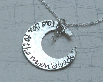 I Love You To The Moon and Back, Hammered Sterling Silver Necklace