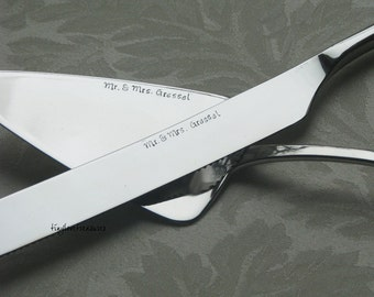 Wedding cake knife and server set, hand stamped and personalized for the bride and groom