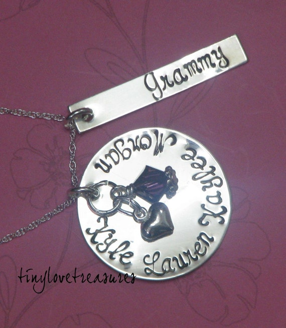 Sterling silver hand stamped necklace with rectangle tag and charms