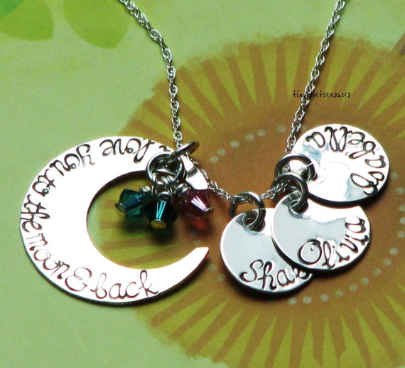 I love you to the moon and back necklace with THREE name charms and birth stones - sterling silver hand stamped