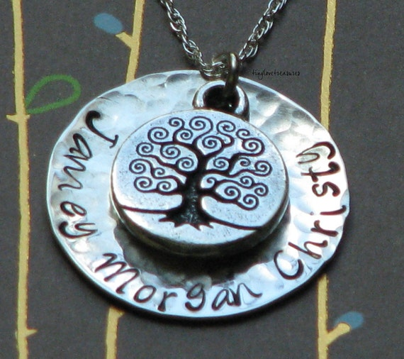 Family Tree, hammered Sterling Silver Hand Stamped necklace