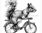 Bicycle Squirrel Print with Mat - the ORIGINAL