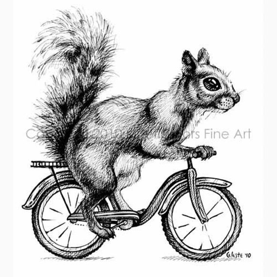 Items Similar To Bicycle Squirrel Print With Mat On Etsy