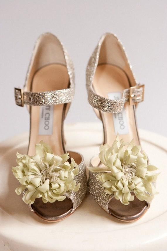 Sage Green Silk Flower Shoe Clips