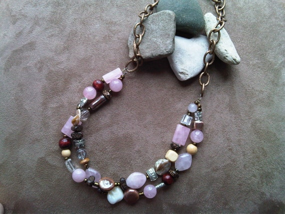 Pink Wood and Copper Necklace