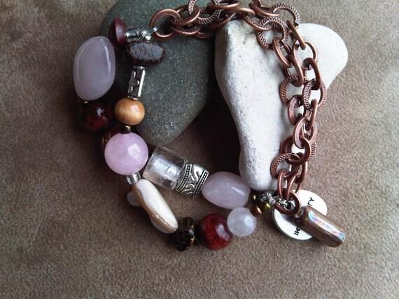 Pink Wood and Copper Half and Half Bracelet