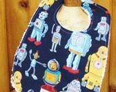 Toddler Bib in Robot Print