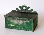 Primitive Green Tin Match Holder with Striker on Bottom