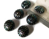 Antique Buttons Large Iridescent Peacock Colored Carnival Glass Germany US Zone Lot of 6 Vintage Supplies