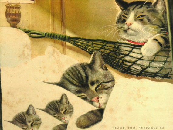 Vintage Print: Chessie & Family Chesapeake and Ohio Railway Cat Advertising Poster