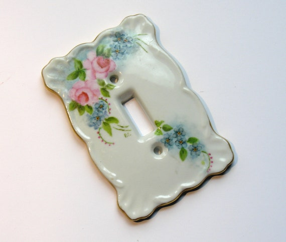 Vintage Porcelain Switchplate Cover with Handpainted Roses No. 1