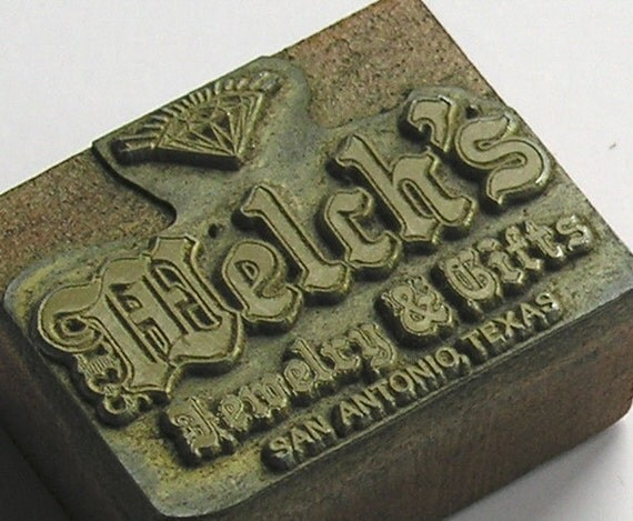 Vintage Printing Block: Welch's Jewelry Vintage Letterpress Newspaper Wooden