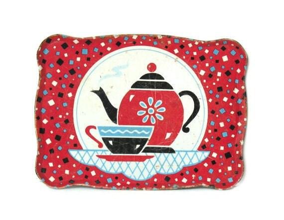 Vintage Ohio Art Tin Litho Tray for Toy Tea Set