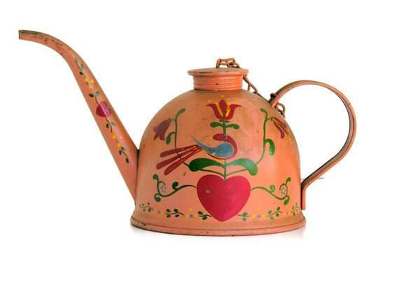 Boho Folk Art Oil Can Eagle Rustic Vintage Primitive Teapot Style Rustic Gypsy Caravan Handpainted Pennsylvania Dutch Primitive Folk Style