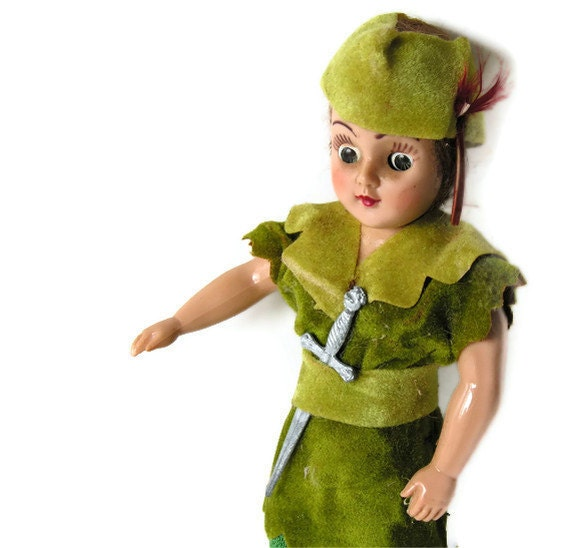 Vintage Storybook Doll - Peter Pan with Dagger
