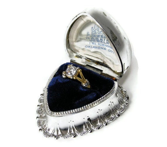 Vintage ring box dennison silver heart for antique jewelry for Heart ring box