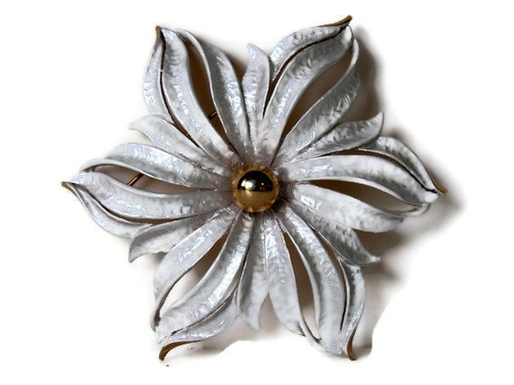 Retro 1970s Brooch Silver Gold Flower Two Tone Pin Celebrity