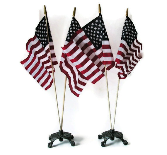 Flag Holders Antique Cast Iron GAR Civil War Veterans Woman's Relief Corps Memorial Day Patriotic Fraternity