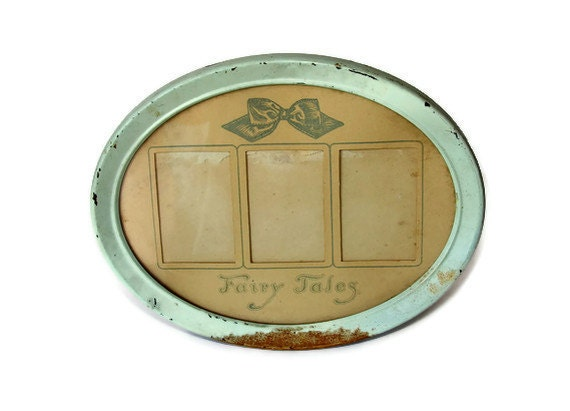 Vintage Fairy Tales Picture Frame & Mat - Robin's Egg Blue Metal Oval