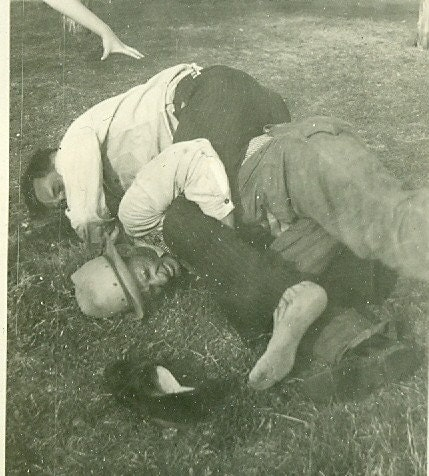 Old Men Fighting Rolling on Ground Vintage Photo