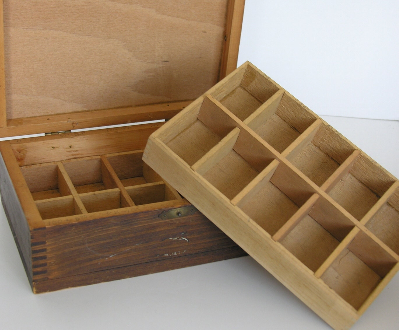 Antique Wooden Box with Dividers & Lift Out Tray by veraviola
