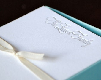 Personalized Letterpress Stationery Custom Set of 20