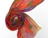 Silk Crinkle Chiffon Hand-Painted Scarf Tiger Lily