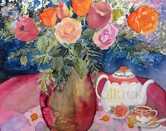 Tea Room With Flowers Reproduction Print of Silk Painting
