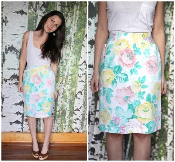 vintage pastel floral pencil skirt
