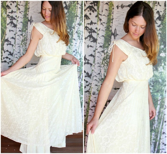 vintage yellow Grecian gown - Sun Goddess