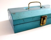 Spring Sale Industrial Style Turquoise Blue Metal Box