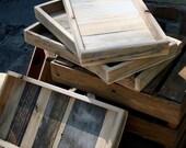 Wood display tray, set of 3 reclaimed wood eco friendly