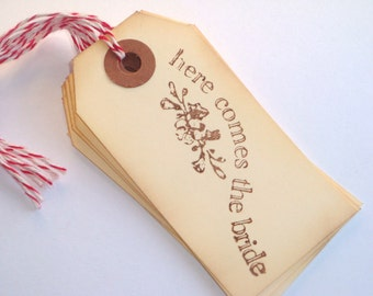 Here Comes the Bride Handstamped Tags // 6pcs with Baker's Twine