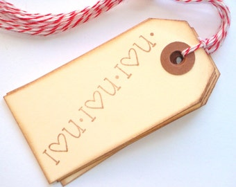 I (Heart) U Handstamped Gift Tags // Scrapbook, Weddings, Valentine's Day, Craft Supply, Packaging Supply